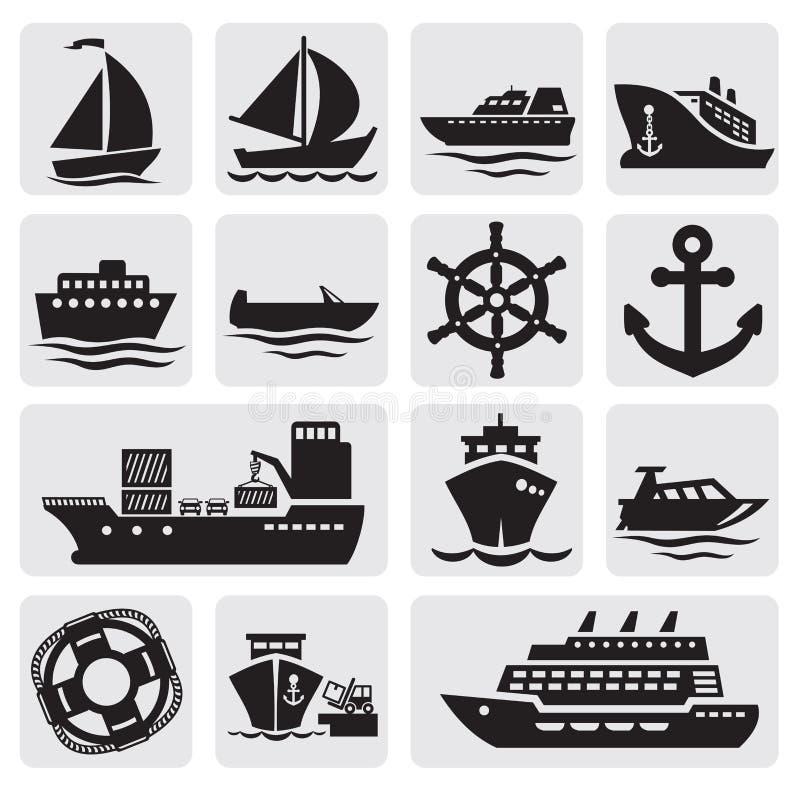 被设置的小船和船图标 皇族释放例证