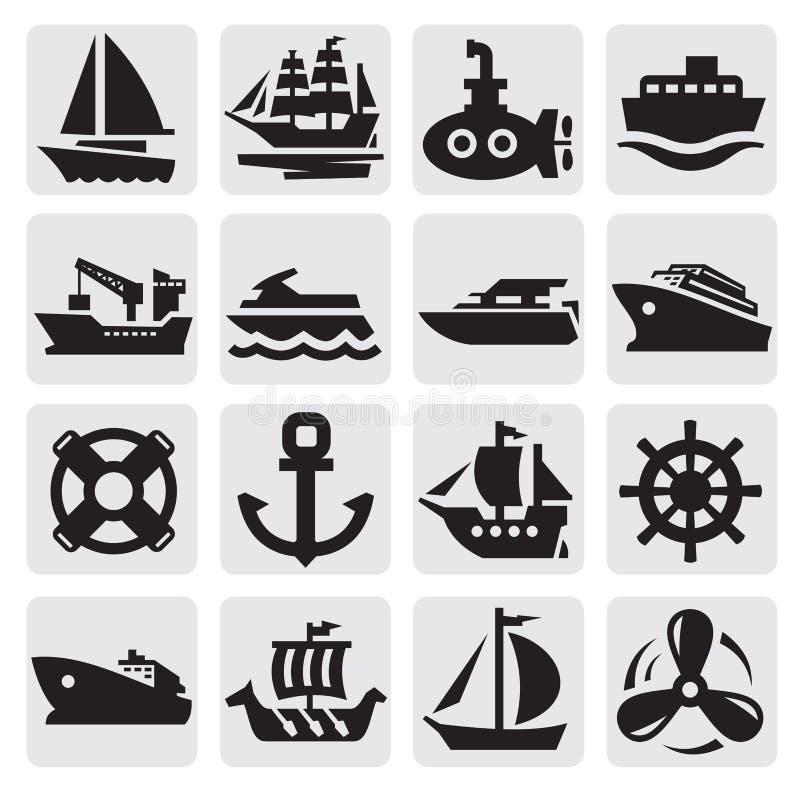 被设置的小船和船图标 库存例证