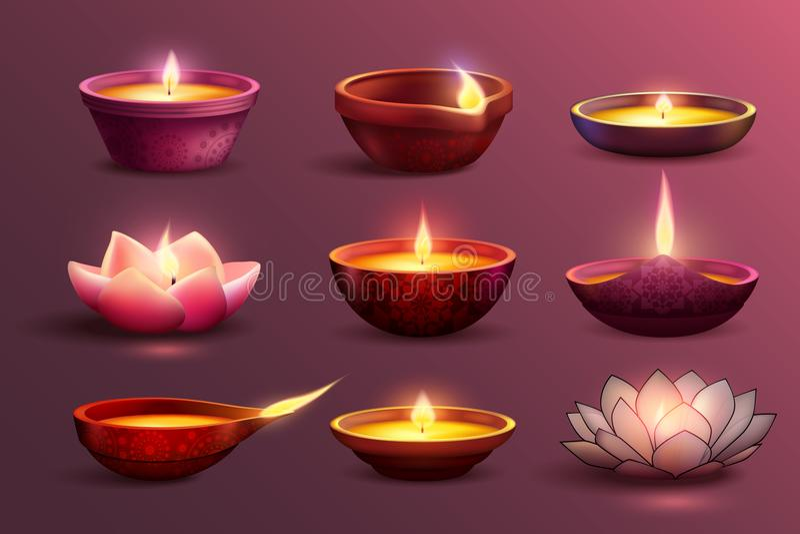 被设置的屠妖节欢乐蜡烛 向量例证