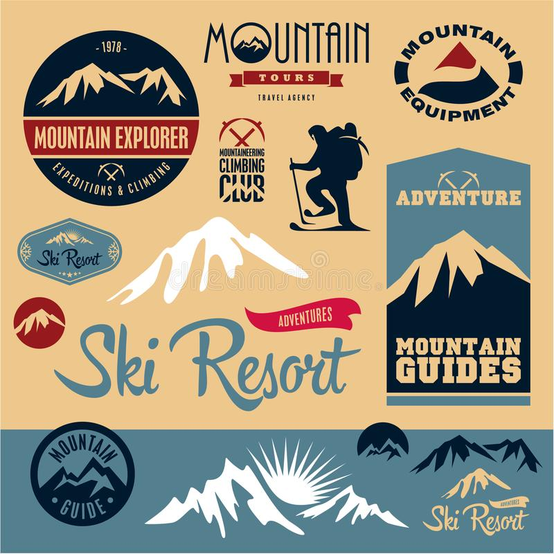 被设置的山图标 登山 登山人 手段滑雪 库存例证