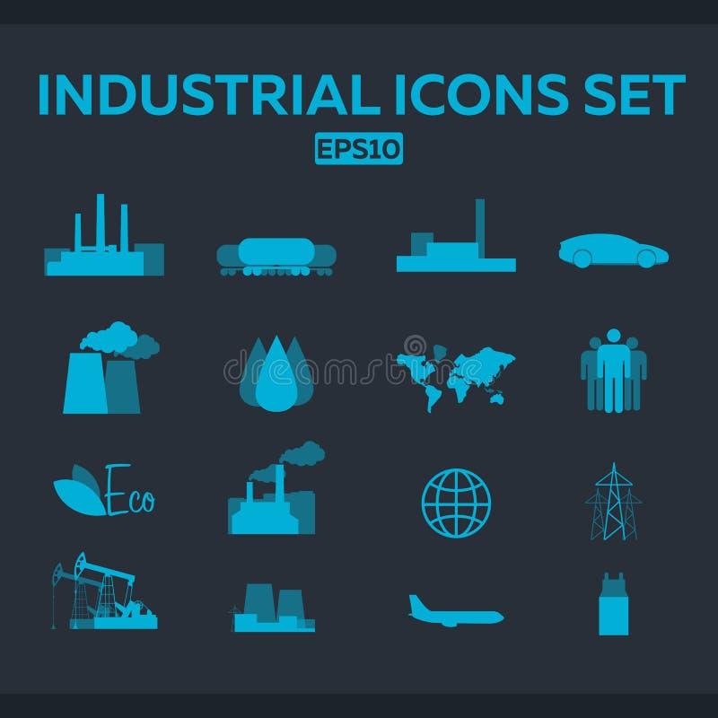被设置的工业和工厂象 传染媒介平的例证 库存例证