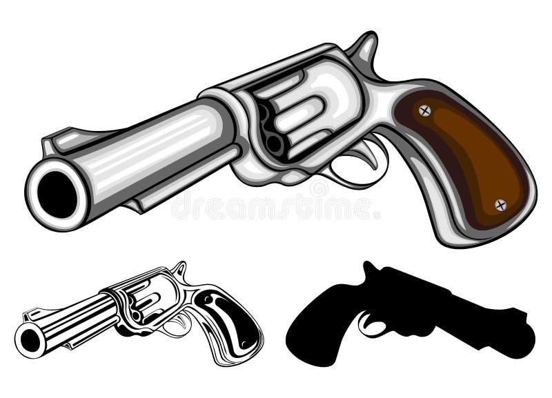 被设置的左轮手枪 皇族释放例证