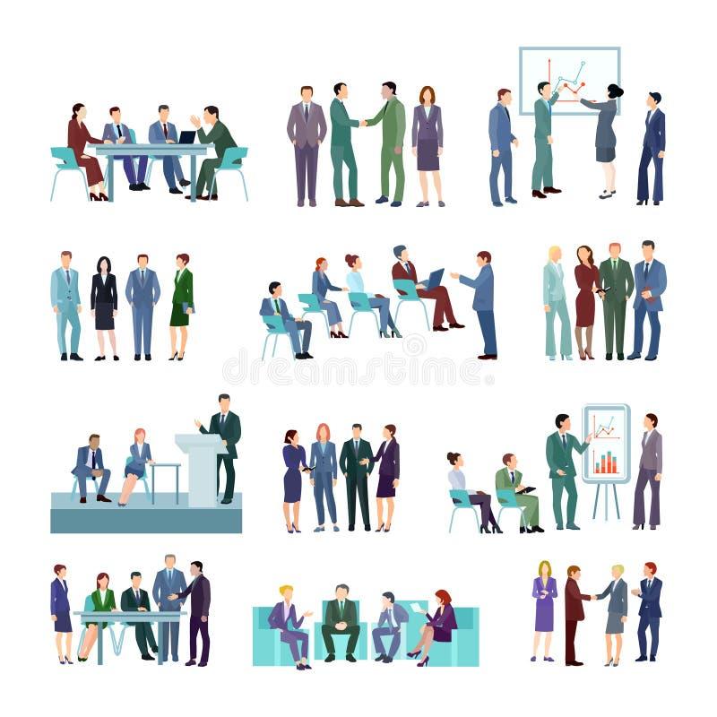 被设置的平的会议会议小组 向量例证