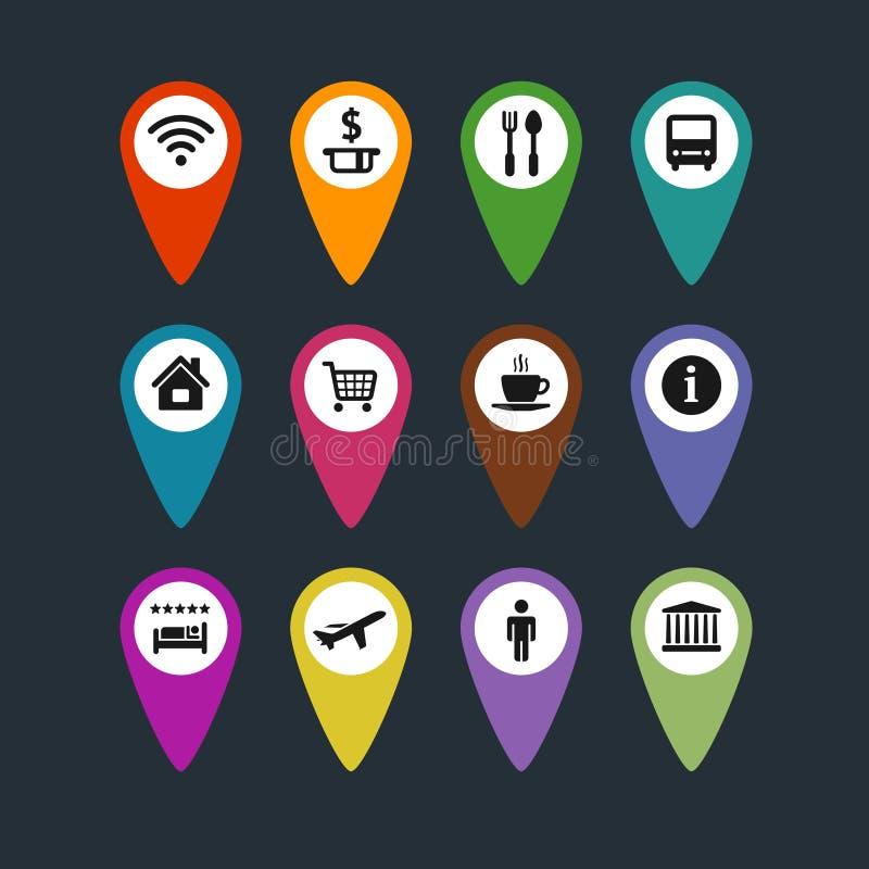 被设置的平的传染媒介旅行标志地图别针 库存例证