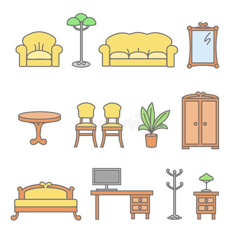 被设置的平的家具概述象 皇族释放例证