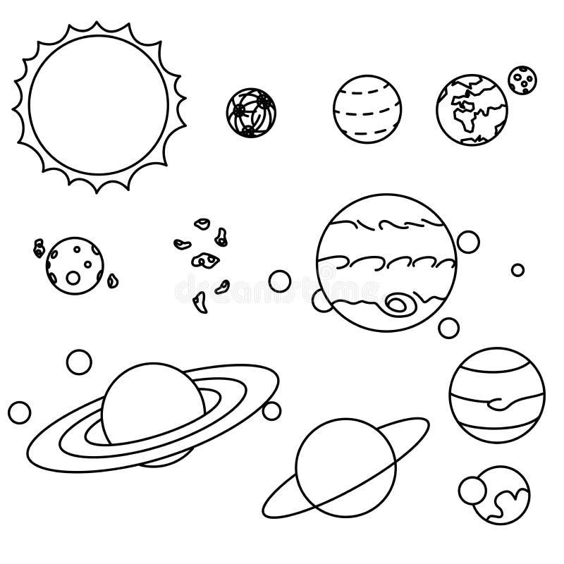 被设置的平的样式太阳系行星 皇族释放例证