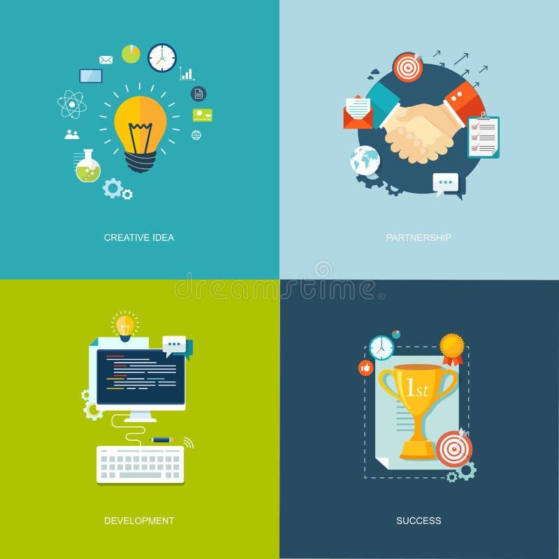 被设置的平的横幅 创造性的想法,合作,发展, succe 库存例证