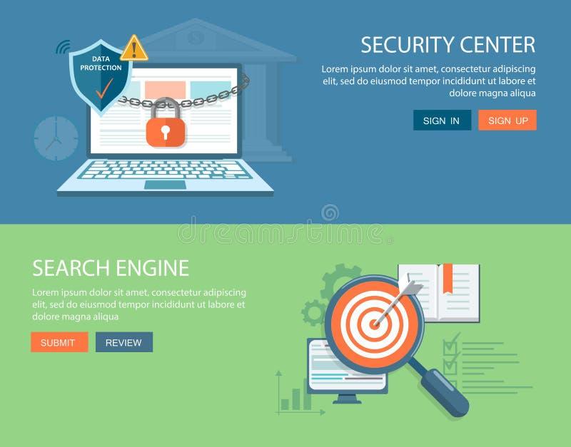 被设置的平的横幅 安全中心和搜索引擎例证 向量例证