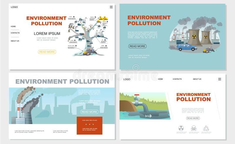 被设置的平的环境污染网站 向量例证
