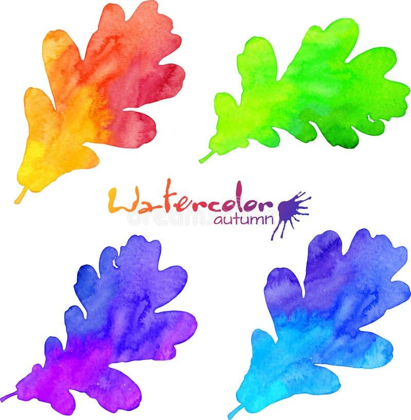 被设置的彩虹颜色水彩被绘的橡木叶子 库存例证