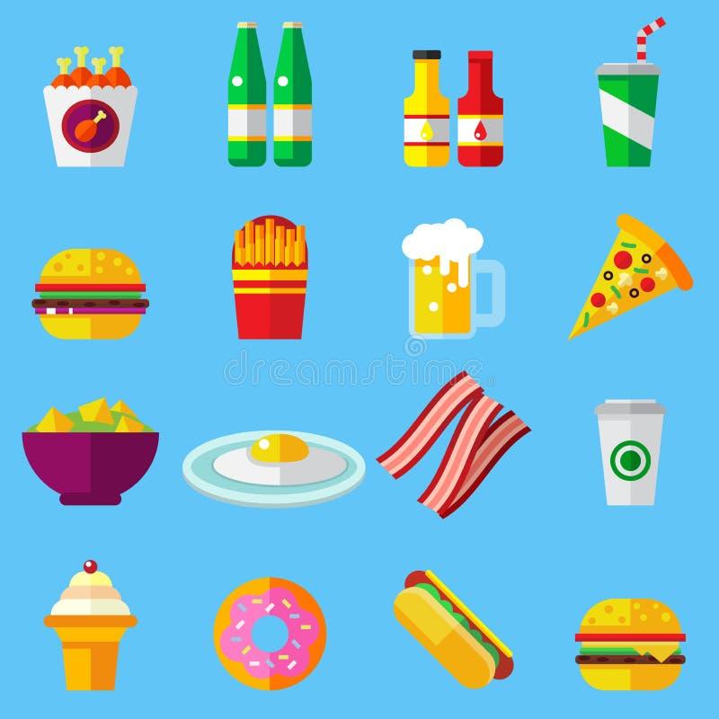 被设置的快餐五颜六色的平的设计象 网和流动应用的模板元素 库存例证