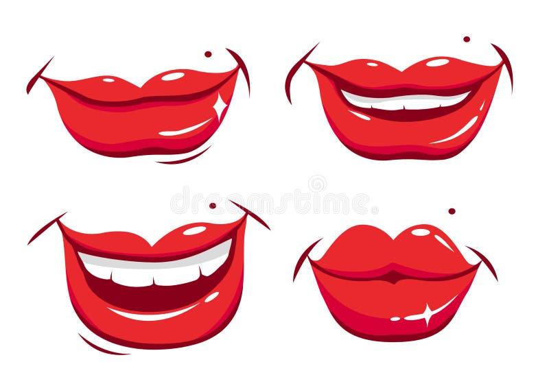 被设置的性感的女性嘴唇。 向量例证