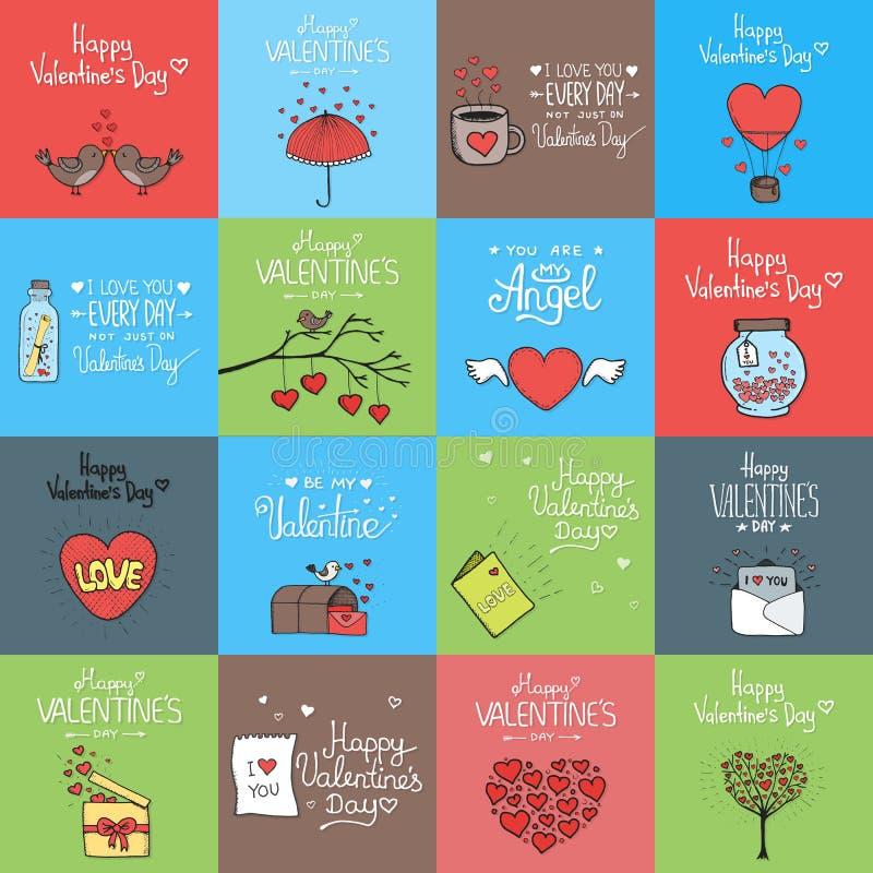 被设置的情人节-象征和卡片 库存例证