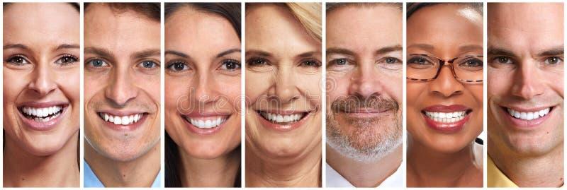 被设置的愉快的人面孔 免版税库存图片