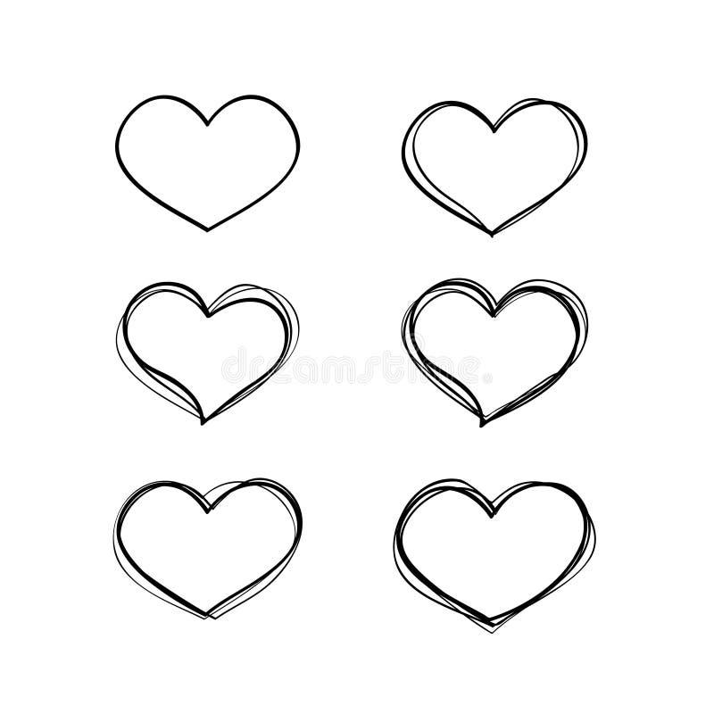 被设置的手拉的传染媒介黑色心脏形状 皇族释放例证