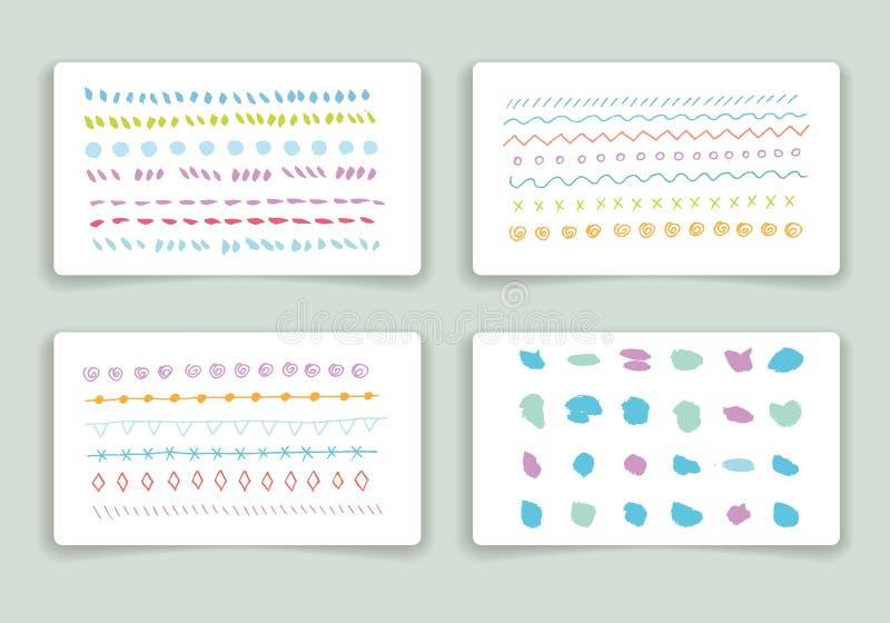 被设置的手拉的刷子冲程卡片模板 库存例证