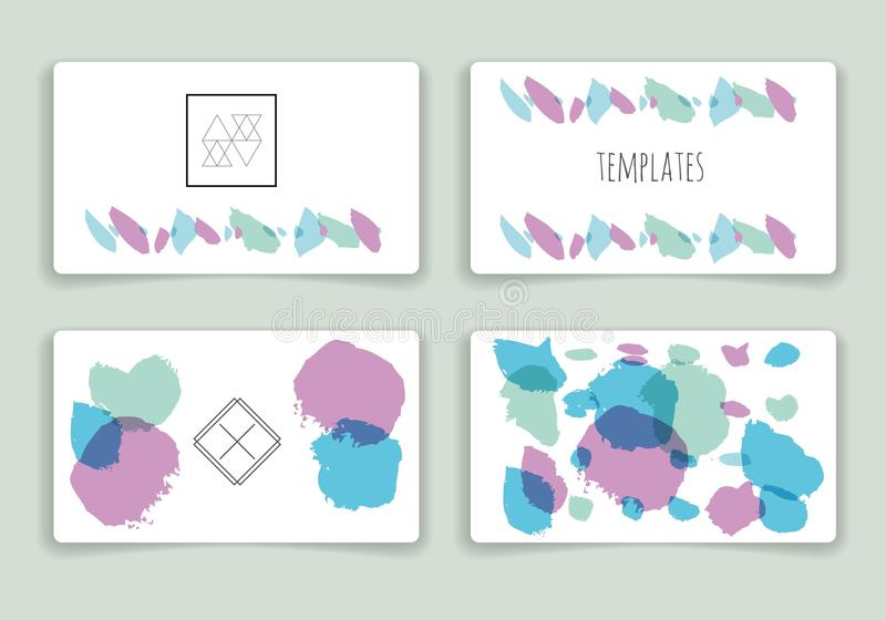 被设置的手拉的刷子冲程卡片模板 皇族释放例证