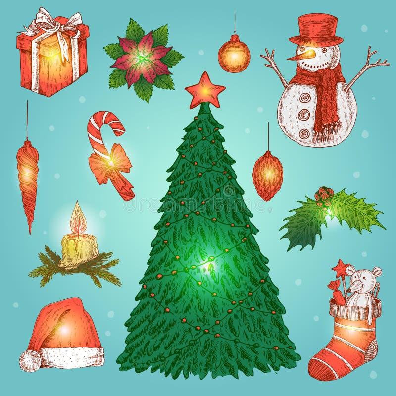 被设置的手拉的圣诞节装饰 库存例证