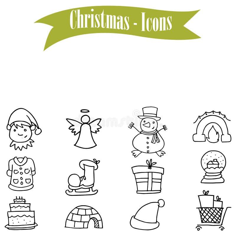 被设置的手拉的对象圣诞节象 皇族释放例证