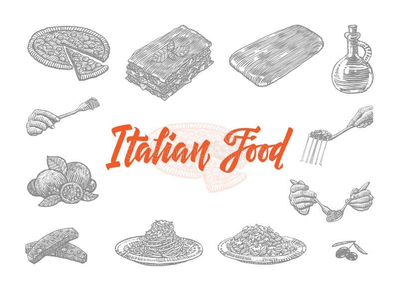 被设置的手拉的意大利食物象 库存例证