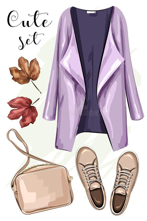 被设置的手拉的时尚衣裳:外套,袋子,鞋子 时髦的衣物成套装备 草图 库存例证