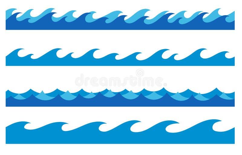 被设置的手拉的海浪不尽的边界 库存例证