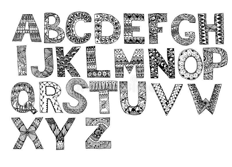 被设置的手拉的艺术性的信件 手拉的乱画字母表 独特的zentangle在汇集上写字 向量例证
