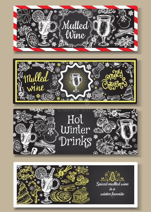 被设置的手拉的被仔细考虑的酒传染媒介横幅 与酒杯的黑白剪影海报 菜单卡片设计模板 库存例证