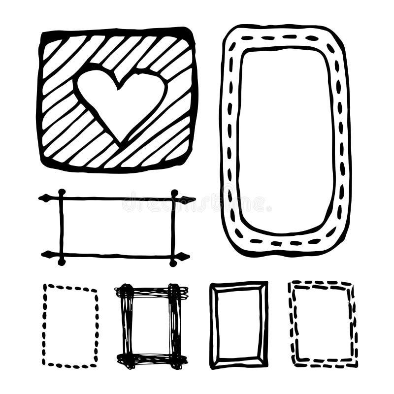 被设置的手拉的长方形框架 向量例证. 插画 包括有 品图片