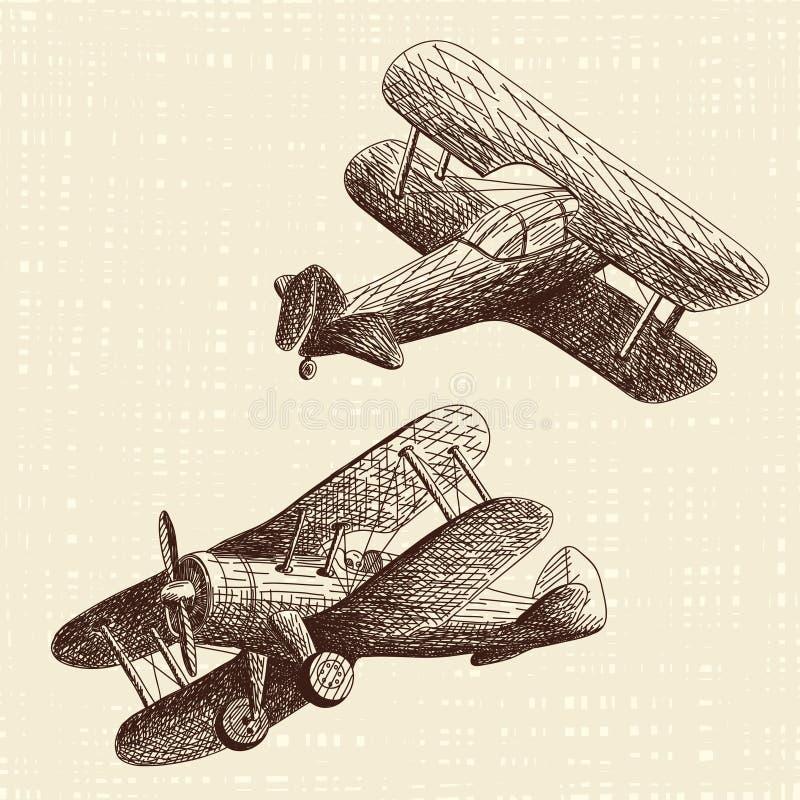 被设置的手拉的飞机 免版税库存照片
