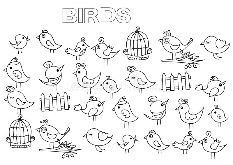 被设置的手拉的鸟 彩图页模板 向量例证