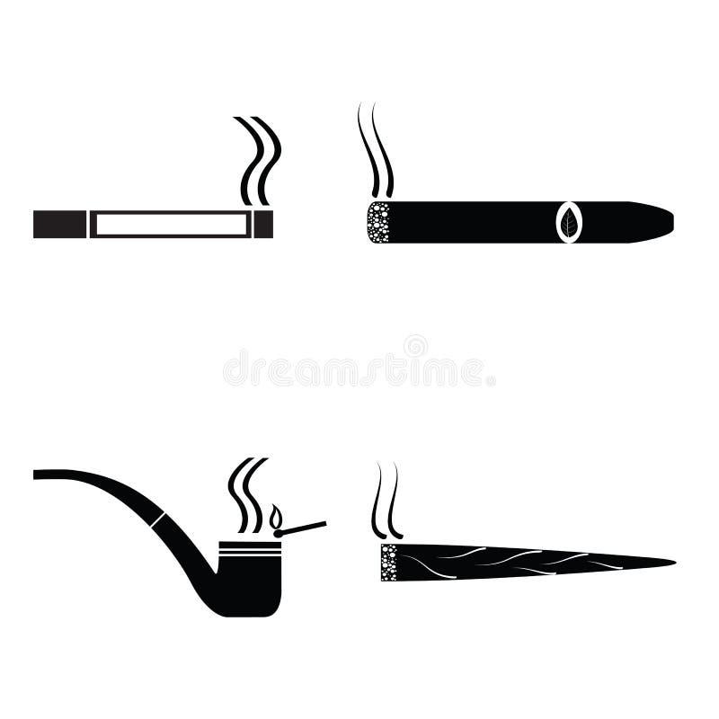 被设置的抽烟的剪影象 皇族释放例证