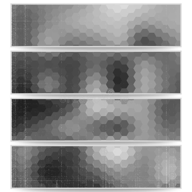 被设置的抽象六角倒栽跳水,被弄脏的设计 向量例证