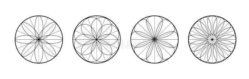 被设置的抽象模式 梦想俘获器的象 圆的线性标志 与几何形状的花 向量例证