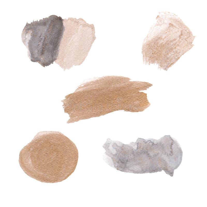 被设置的抽象水彩和墨水形状斑点 库存例证