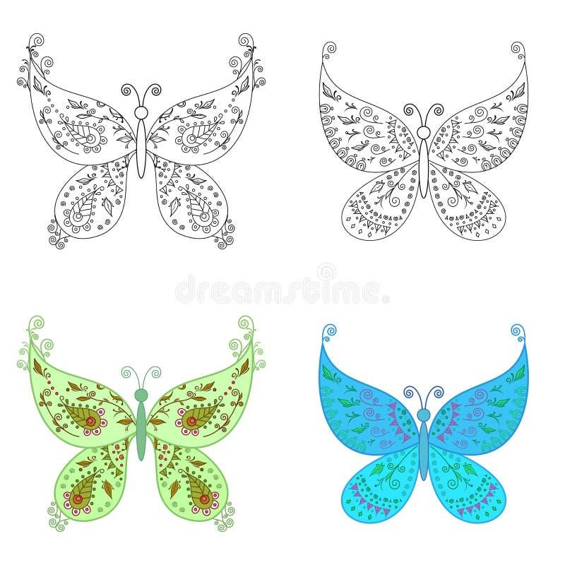 被设置的抽象蝴蝶 向量例证