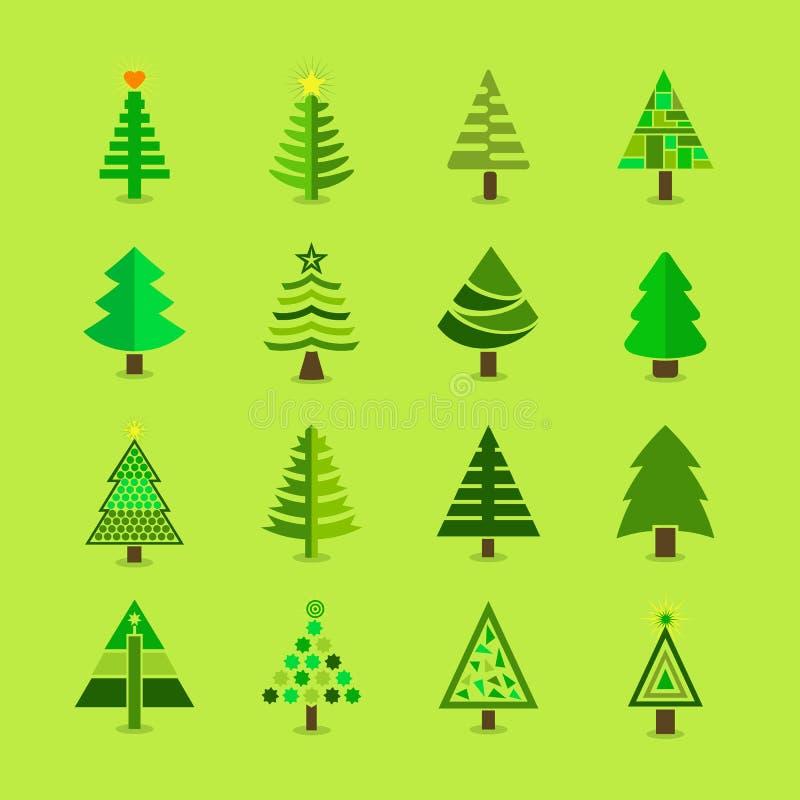 被设置的抽象绿色圣诞树象 库存例证