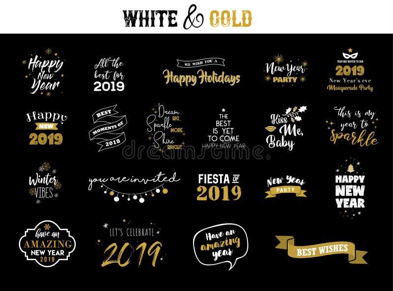 被设置的新年快乐2019印刷象征 传染媒介商标,文本设计 黑色、白色和金子 能用为横幅 向量例证