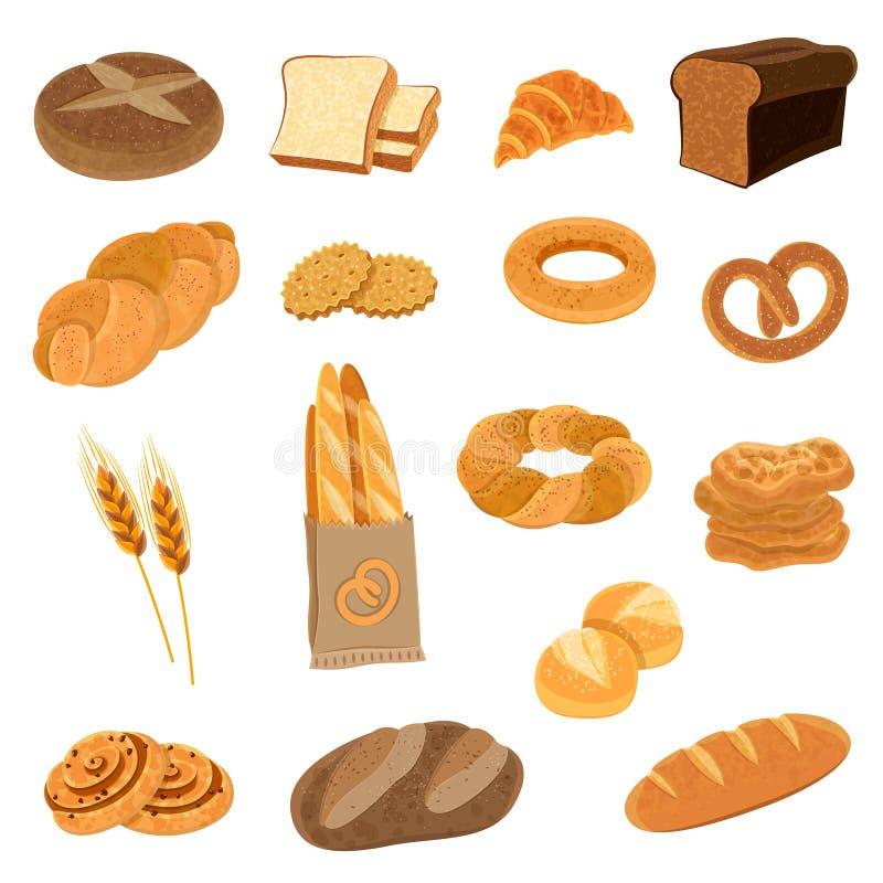 被设置的新鲜面包平的象 向量例证