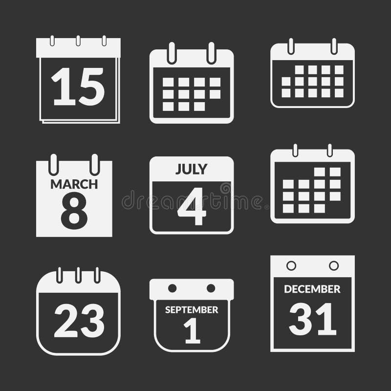 被设置的日历图标 皇族释放例证