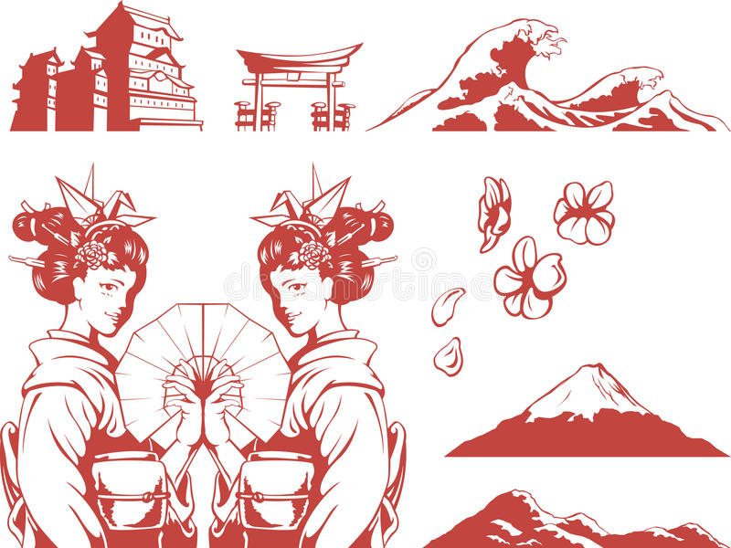 被设置的日语-和服的,佐仓,山, C女孩 库存例证