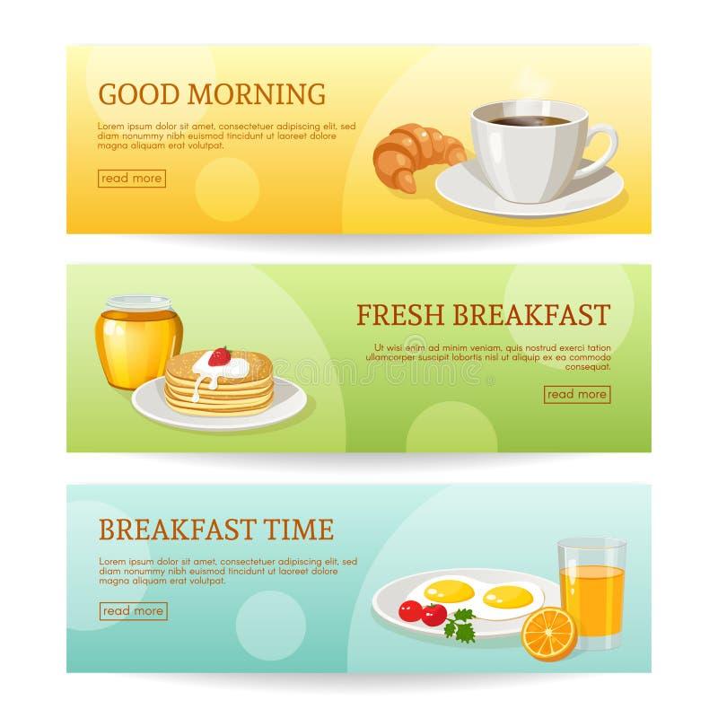 被设置的早餐时间横幅 向量例证