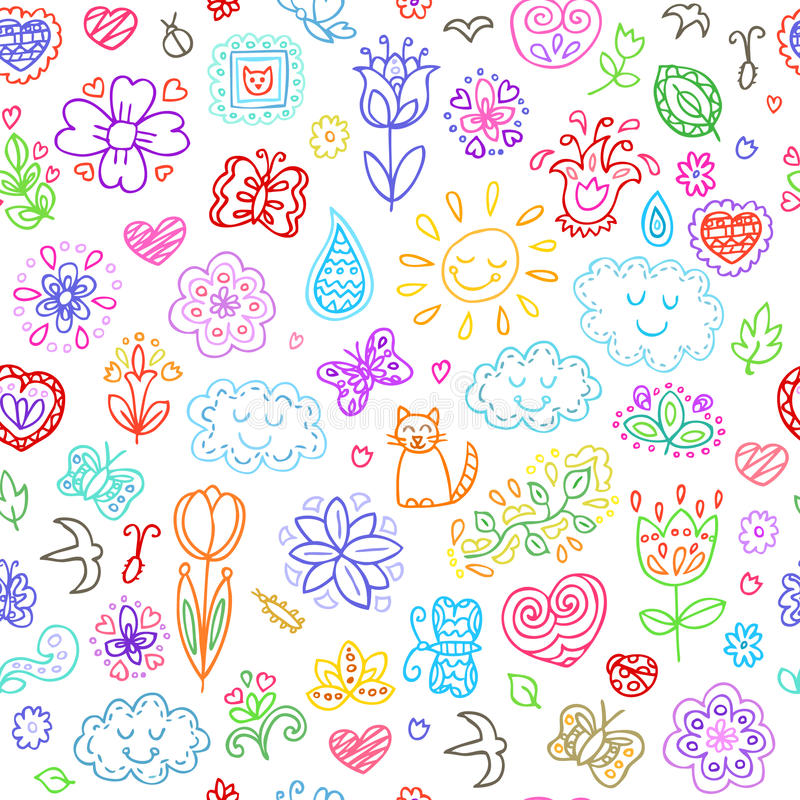 被设置的春天乱画 递凹道花,太阳,云彩,蝴蝶 皇族释放例证