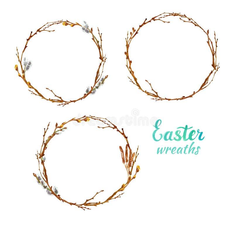 被设置的春天水彩装饰花圈,隔绝在白色背景 树枝杈,分支,复活节的褪色柳框架 库存例证