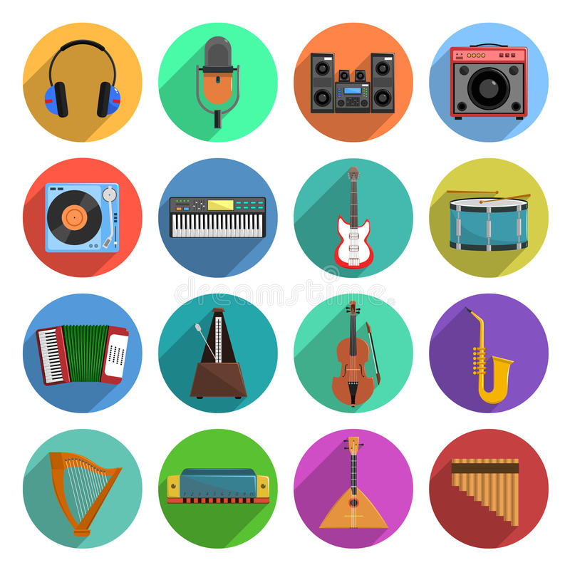 被设置的曲调和音乐象 向量例证