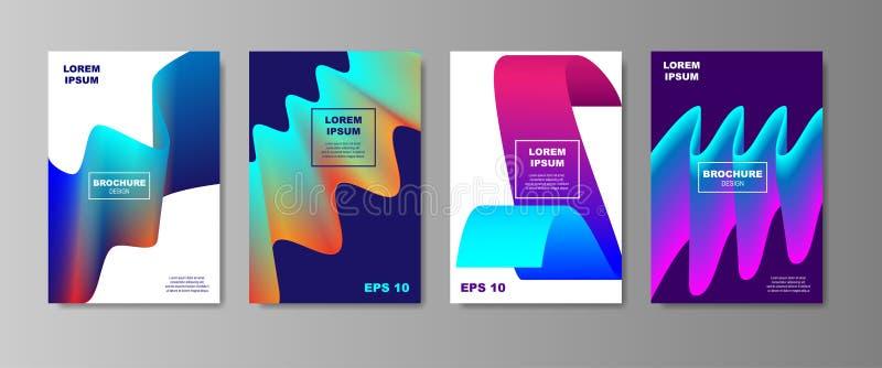 被设置的最小的液体盖子设计 与流体的未来海报模板塑造与光滑的梯度的构成 向量 库存例证