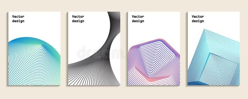 被设置的最小的盖子 设计几何 抽象3d滤网 向量例证