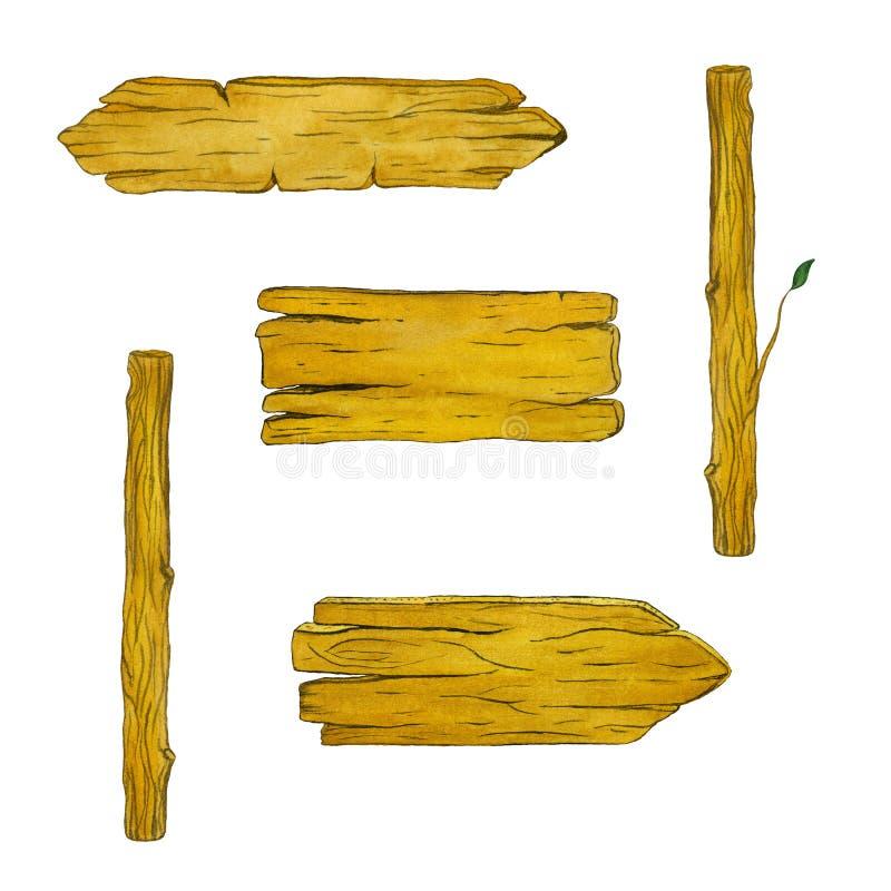被设置的木路标 手工制造水彩例证 向量例证