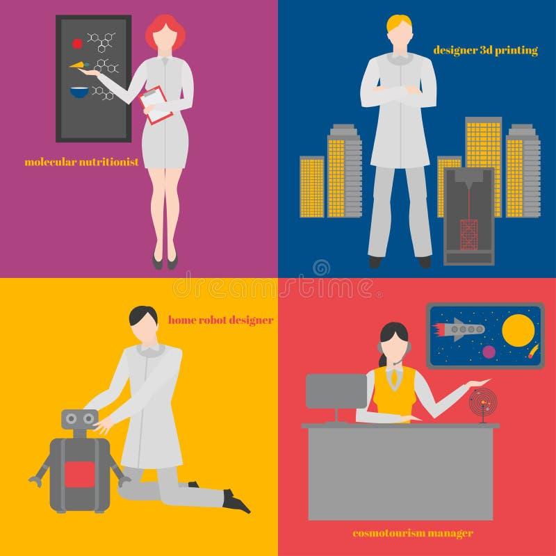 被设置的未来行业 未来派职业 Cosmo旅游业经理 设计师家庭机器人 设计师3 d打印 皇族释放例证