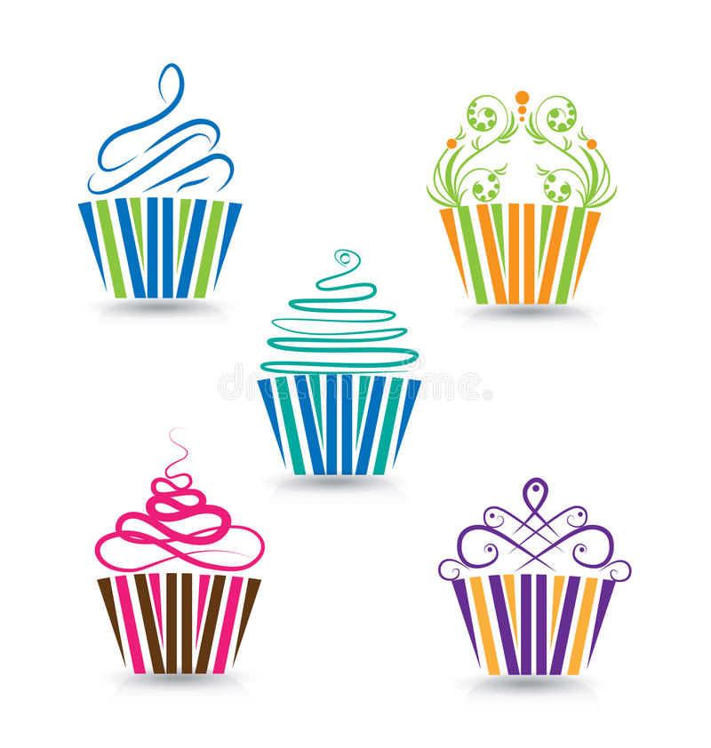 被设置的杯形蛋糕 库存例证